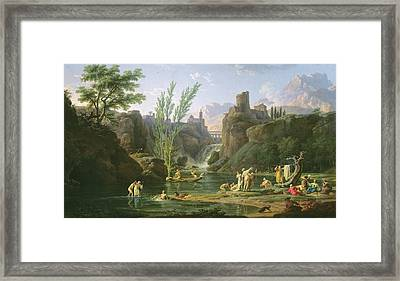 Morning  The Bathers Framed Print by Claude Joseph Vernet
