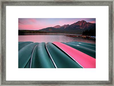 Morning View Of Pyramid Lake In Jasper National Park Framed Print by Mark Duffy