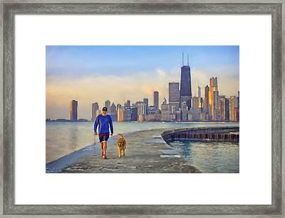 Morning Walk - 1 - Pier - North Avenue Beach  - Chicago Framed Print by Nikolyn McDonald
