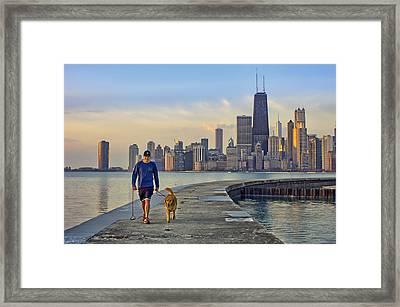 Morning Walk 2 - North Avenue Beach - Pier - Chicago Framed Print by Nikolyn McDonald