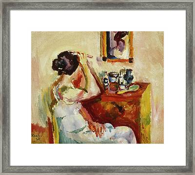Morning Wash Framed Print by Ludwig Karsten