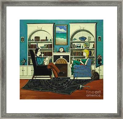 Morning With The Cats While Sitting In Chairs Framed Print by John Lyes