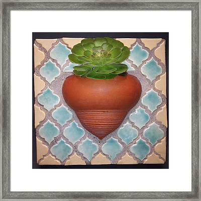 Moroccan Mosaic With Aeonium Framed Print by Evelyn Taylor Designs
