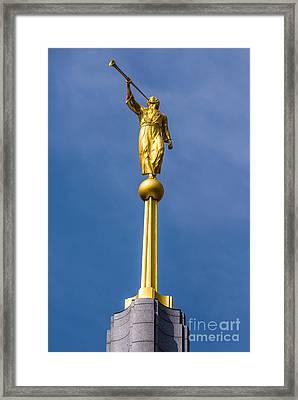 Moroni Angel Statue Draper Mormon Temple - Utah Framed Print by Gary Whitton