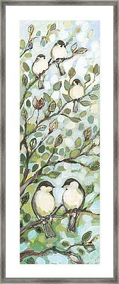 Mo's Chickadees Framed Print by Jennifer Lommers