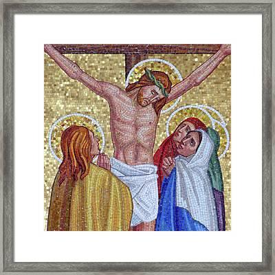 Mosaic Crucifixion  Framed Print by Munir Alawi