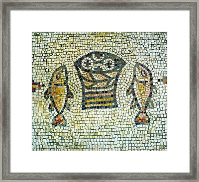 Mosaic Of Loaves And Fishes Framed Print by Daniel Blatt