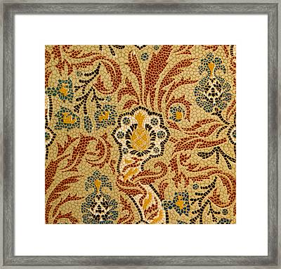 Mosaic Textile Pattern Framed Print by English School