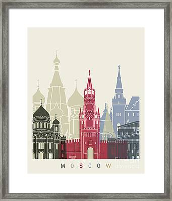 Moscow Skyline Poster Framed Print by Pablo Romero