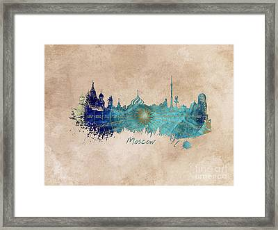 Moscow Skyline Wind Rose Framed Print by Justyna JBJart