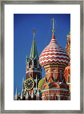 Moscow, Spasskaya Tower And St. Basil Cathedral Framed Print by Vladimir Zakharov