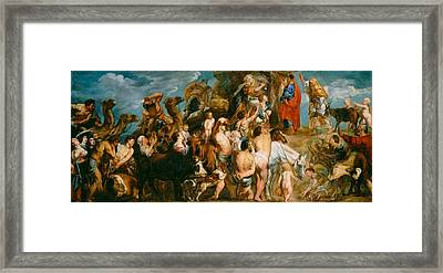 Moses Striking Water From The Rock Framed Print by Jacob Jordaens