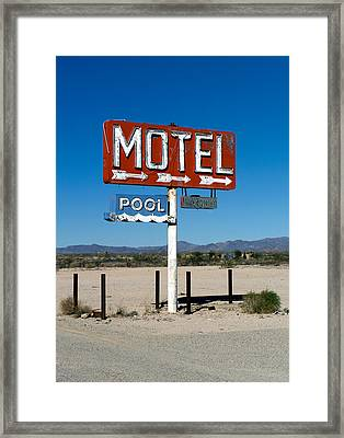 Motel Sign On I-40 And Old Route 66 Framed Print by Scott Sawyer