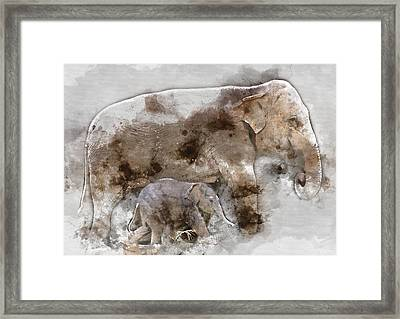 Mother And Baby Elephant Animal Decorative Poster  5 - By Diana Van Framed Print by Diana Van