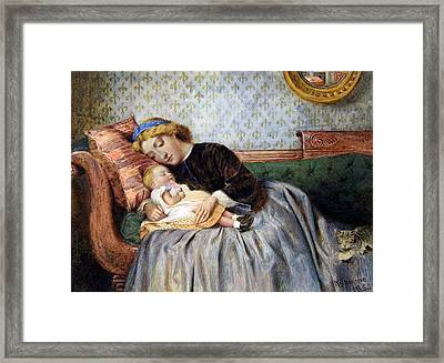 Mother And Child Framed Print by George Goodwin Kilburne
