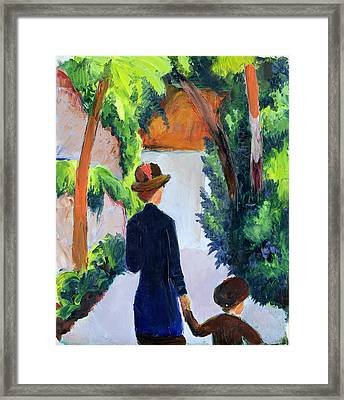 Mother And Child In The Park Framed Print by August Macke