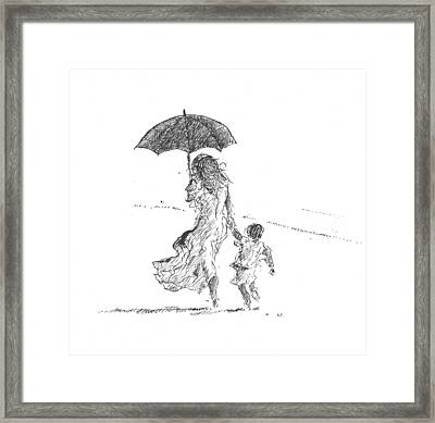 Mother And Child  Sri Lanka Framed Print by Lincoln Seligman