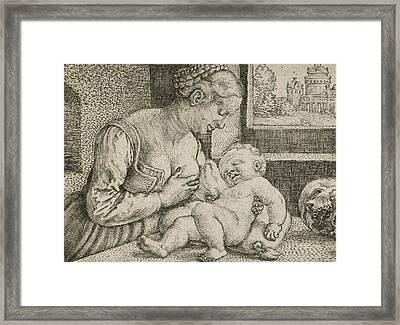Mother And Child With Skull And Hourglass Framed Print by Barthel Beham