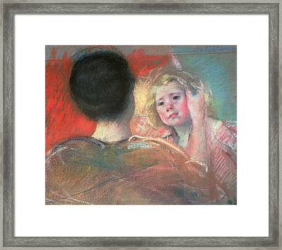 Mother Combing Sara's Hair  Framed Print by Mary Stevenson Cassatt