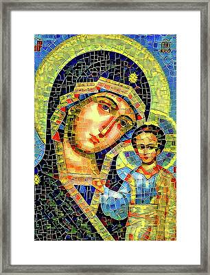 Mother Mary Mosaic Icon 1 Framed Print by Yury Malkov