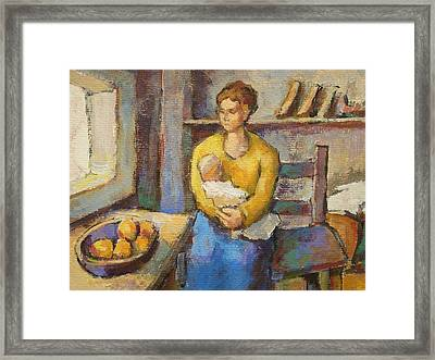 Mother With Child Framed Print by Alfons Niex