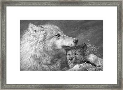 Mother's Love - Black And White Framed Print by Lucie Bilodeau