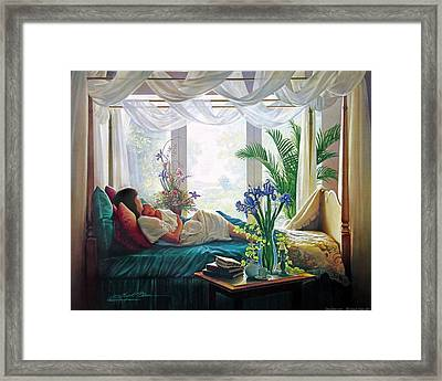 Bed Framed Print featuring the painting Mother's Love by Greg Olsen