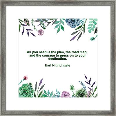 Motivational Quotes - All You Need Is The Plan Framed Print by Celestial Images