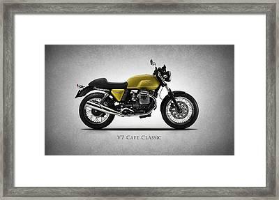 Moto Guzzi V7 Cafe Classic Framed Print by Mark Rogan