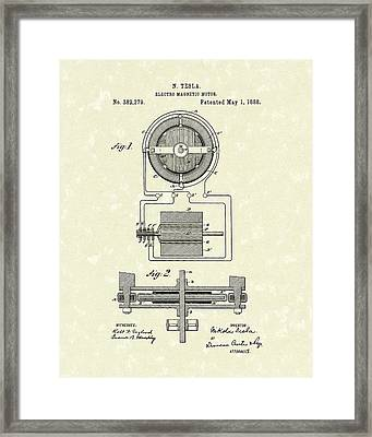 Motor 1888 Patent Art Framed Print by Prior Art Design