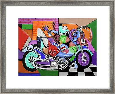 Motorcycle Mama 2 Play Me A Song Framed Print by Anthony Falbo