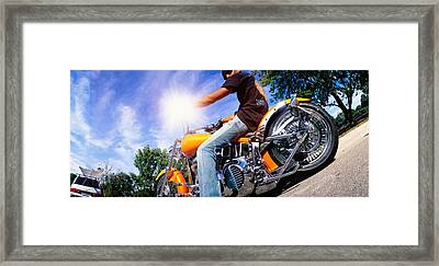 Motorcycle Rider Milwaukee Wi Framed Print by Panoramic Images