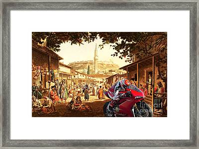 Motorcycle's Race At Bazaar At Athens Framed Print by Pablo Franchi