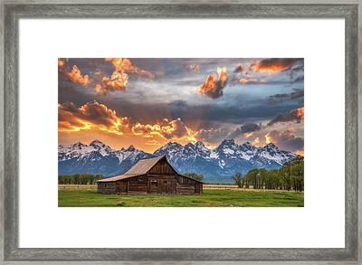 Moulton Barn Sunset Fire Framed Print by Darren White