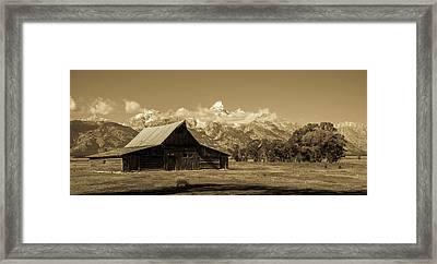 Moulton Barn Toned Framed Print by TL Mair