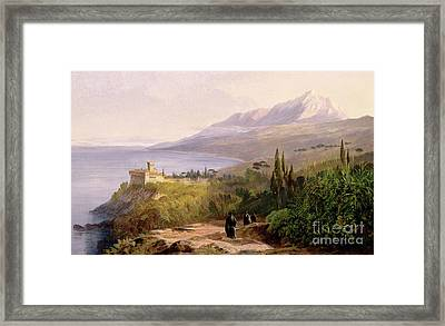 Mount Athos And The Monastery Of Stavroniketes Framed Print by Edward Lear