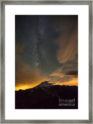 Mount Baker Milky Way Around Midnight Framed Print by Mike Reid