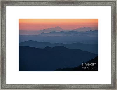 Mount Baker Sunset Landscape Layers Closer Framed Print by Mike Reid