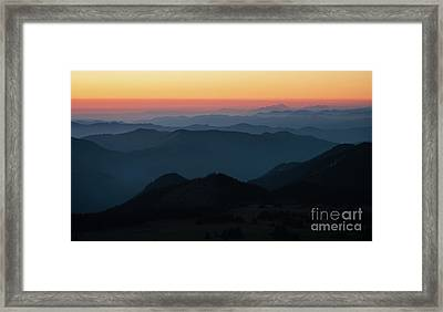 Mount Baker Sunset Landscape Layers Framed Print by Mike Reid