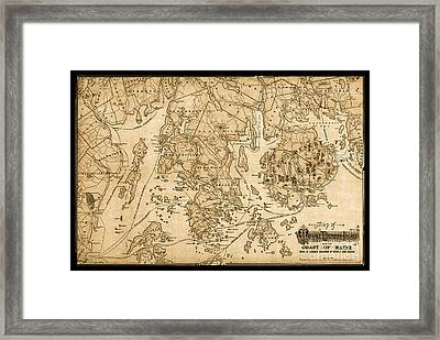 Mount Desert Isle And The Coast Of Maine Vintage Map Framed Print by John Stephens