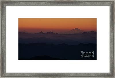 Mount Pilchuck Sunset Layers Framed Print by Mike Reid