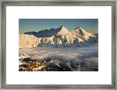 Mount Pollux And Mount Castor At Dawn Framed Print by Colin Monteath