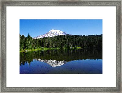 Mount Rainer Reflecting Into Reflection Lake Framed Print by Jeff Swan