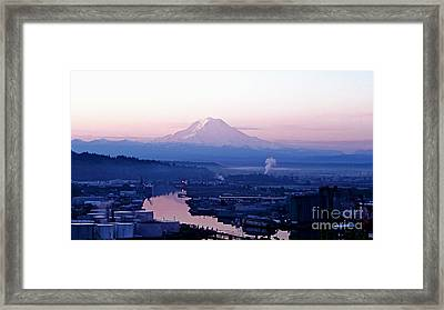 Mount Rainier Dawn Above Port Of Tacoma Framed Print by Sean Griffin