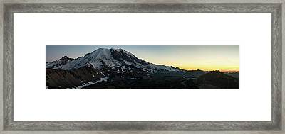 Mount Rainier Sunset Light Panorama Framed Print by Mike Reid