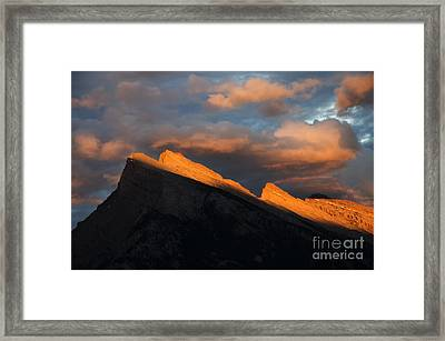 Mount Rundle Fire In The Sky  Framed Print by Bob Christopher