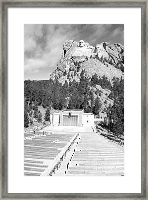 Mount Rushmore National Monument Amphitheater South Dakota Black And White Framed Print by Shawn O'Brien