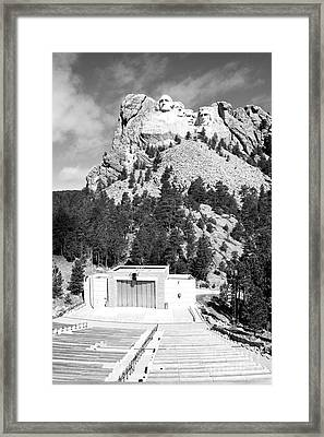 Mount Rushmore National Monument Overlooking Amphitheater South Dakota Black And White Framed Print by Shawn O'Brien