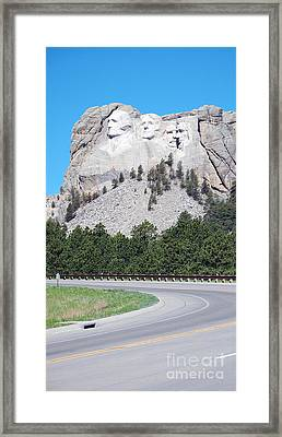 Mount Rushmore National Monument Profile Against Clear Sky With Highway South Dakota Framed Print by Shawn O'Brien