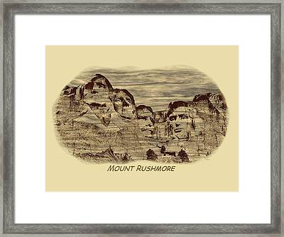 Mount Rushmore Woodburning 2 Framed Print by John M Bailey